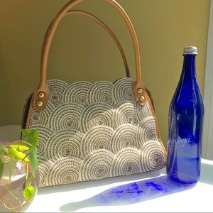 Eric Javits Tan/Cream Woven Circles Shoulder Bag